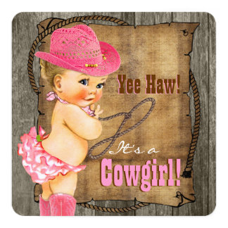 Cowgirl Baby Shower 5.25x5.25 Square Paper Invitation Card