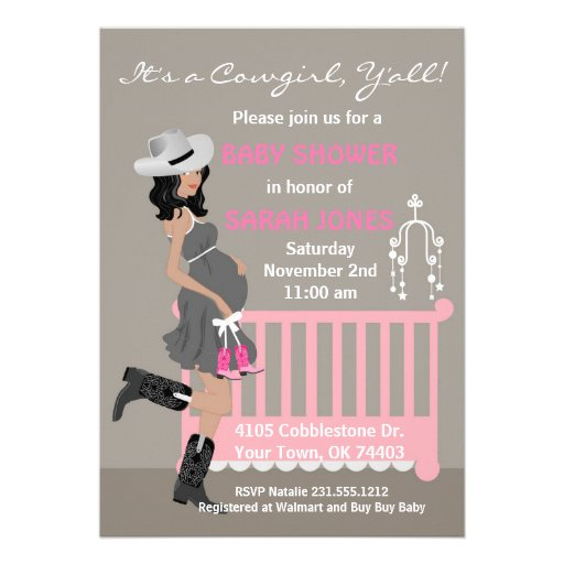 Cowgirl Baby Shower Invitation - African American