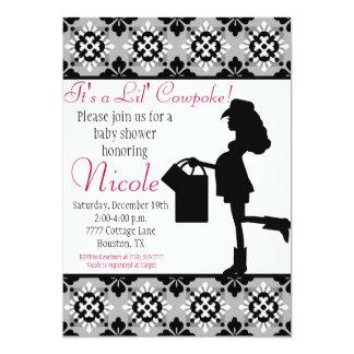 Cowgirl Baby Shower Invitation (Black)