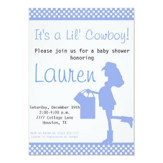 Cowgirl Baby Shower Invitation (BlueWhiteDots)
