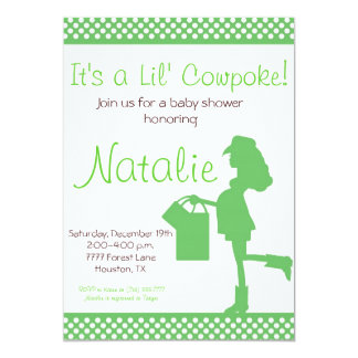 Cowgirl Baby Shower Invitation (Green)