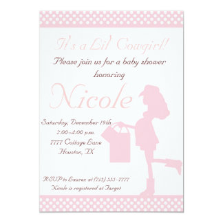 Cowgirl Baby Shower Invitation (Pink/White Dots)
