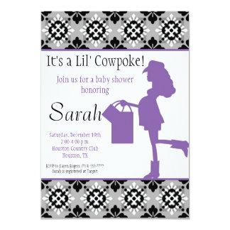 "Cowgirl Baby Shower Invitation (Purple) 5"" X 7"" Invitation Card"