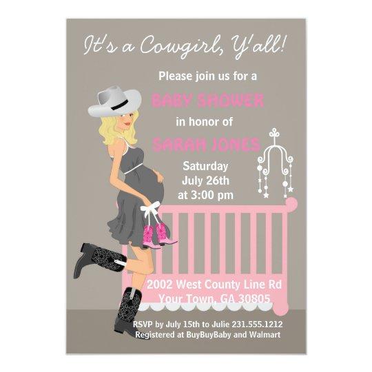 Cowgirl Baby Shower Invitations Blonde Western Zazzlecom