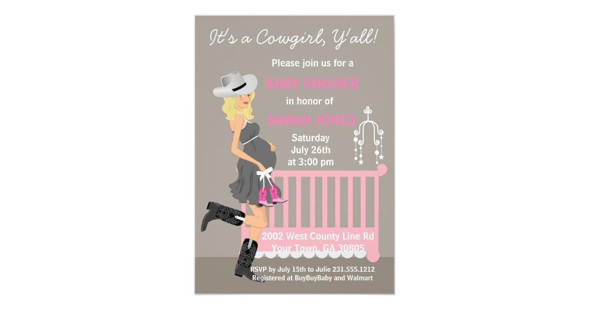Cowgirl Baby Shower Invitations - Blonde Western | Zazzle.com