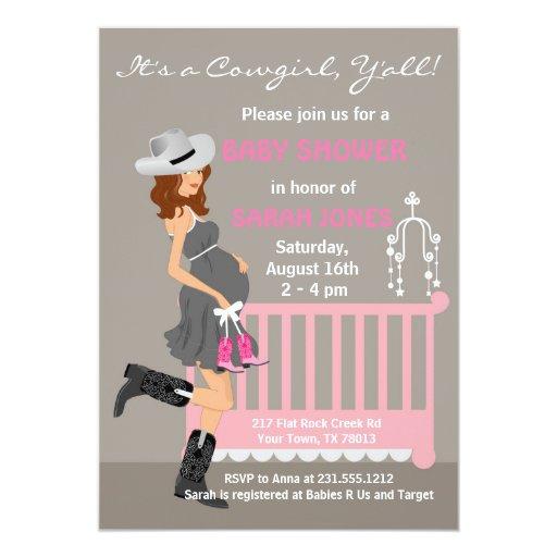 cowgirl baby shower invitations brunette western zazzle