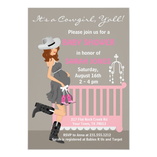 Cowgirl Baby Shower Invitations Brunette Western Zazzlecom