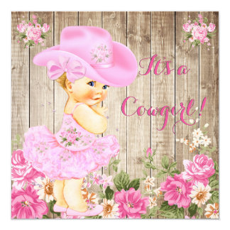 Cowgirl Baby Shower Pink Rustic Wood Girl Blonde Card
