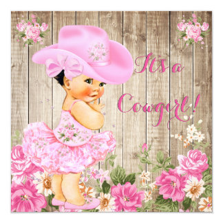 Cowgirl Baby Shower Pink Rustic Wood Girl Brunette Card