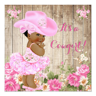 Cowgirl Baby Shower Pink Rustic Wood Girl Ethnic Card