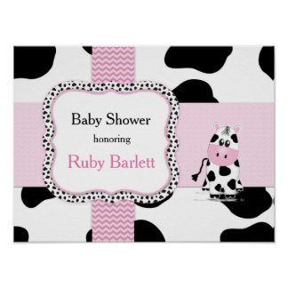 Cowgirl Baby Shower Poster in Pink