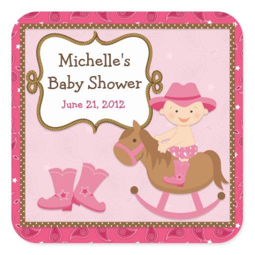 cowgirl baby shower sticker zazzle