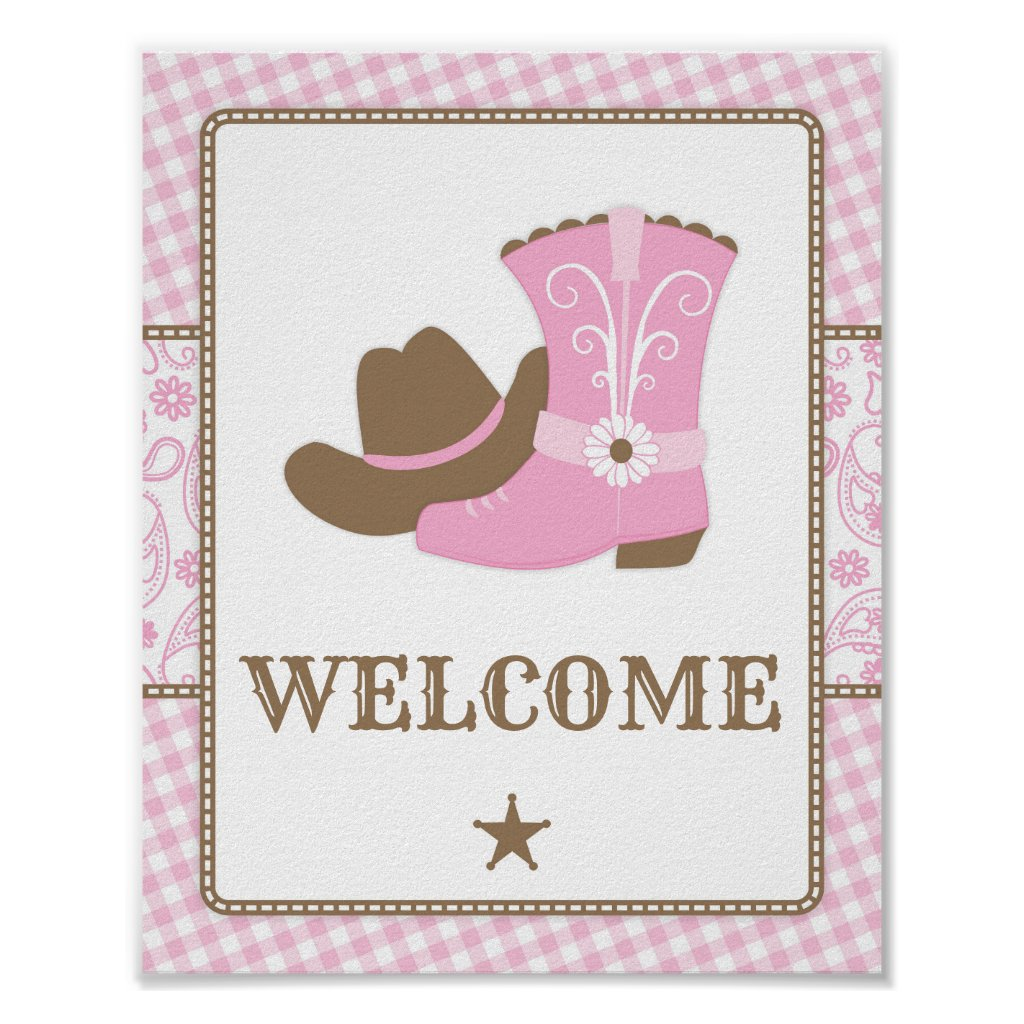Cowgirl Baby Shower Welcome Sign