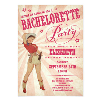 "Cowgirl Bachelorette Party Invitations 5"" X 7"" Invitation Card"
