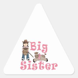 Cowgirl Big Sister Baby Girl Pony Triangle Sticker