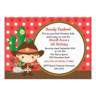 Cowgirl Birthday Announcements