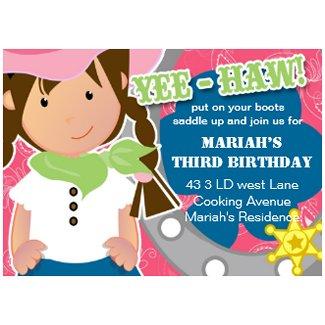 Cowgirl Birthday Invitation invitation