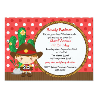 Cowgirl Birthday Personalized Invites