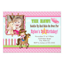 Cowgirl Birthday Invitation 5x7 Card Brunette