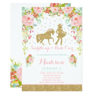 Personalized Cowgirl Birthday Invitations Floral Pink Mint Gold