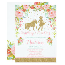 Cowgirl Birthday Invitation Floral Pink Mint Gold