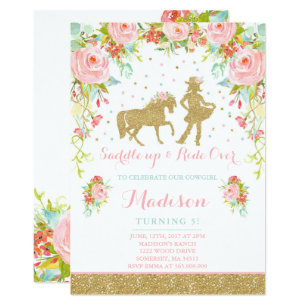 Cowgirl birthday invitations announcements zazzle cowgirl birthday invitation floral pink mint gold filmwisefo Images