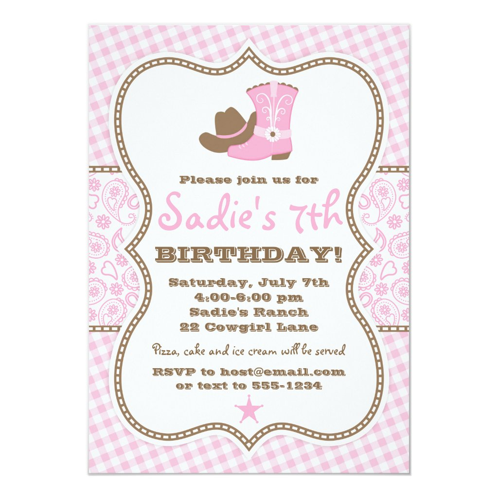 Cowgirl Birthday Invitation, Pink Brown Paisley Invitation