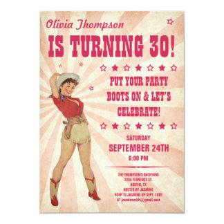 "Cowgirl Birthday Invitations 5"" X 7"" Invitation Card"