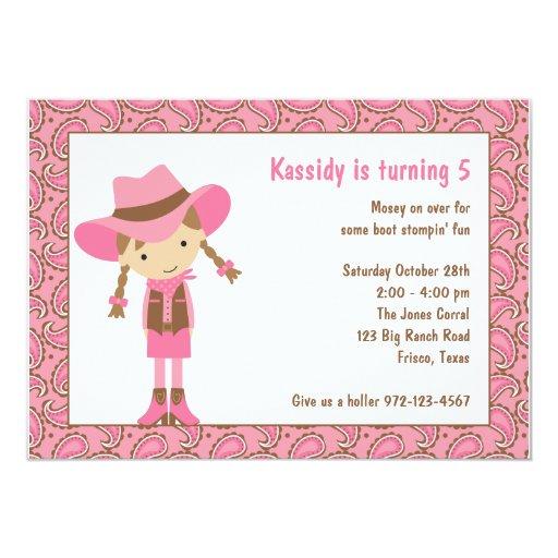 Cowgirl Birthday Invitations Custom Invitations