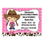 Cowgirl Birthday Party 5x7 Paper Invitation Card
