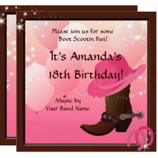 Cowgirl Birthday Party Boot Scottin Custom Card