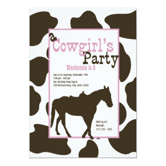 Cowgirl Birthday Party Card