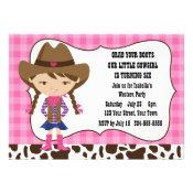 Cowgirl Birthday Party Custom Invitation