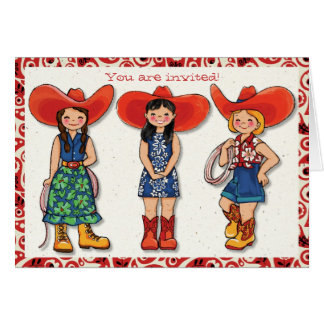 Cowgirl Birthday Party invitation Card