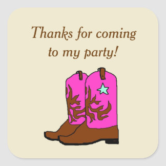 Cowgirl Birthday Party Square Favor Sticker