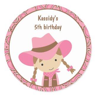 Cowgirl Birthday Stickers sticker