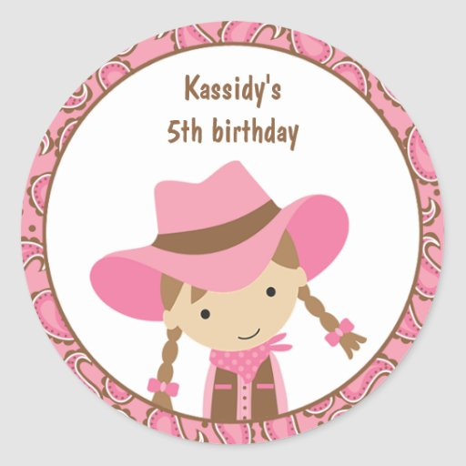 Cowgirl Birthday Stickers