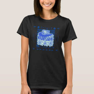 Cowgirl Blue Red Hat & Flowers T-Shirt