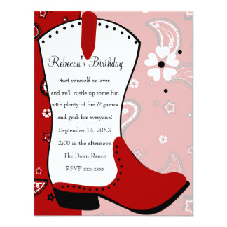 Cowgirl Boot Birthday 4.25x5.5 Paper Invitation Card