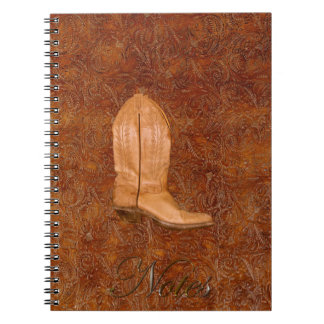 Cowgirl Boot on Western-style Faux Tooled Leather Spiral Note Book