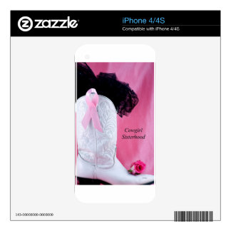 Cowgirl Boot Pink Ribbon Breast Cancer Survivor iPhone 4 Skin