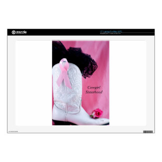 Cowgirl Boot Pink Ribbon Breast Cancer Survivor Laptop Decal