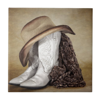 Cowgirl Boot Western Lace Hat Ceramic Tile