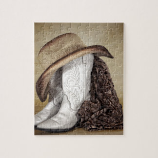 Cowgirl Boot Western Lace Hat Jigsaw Puzzle