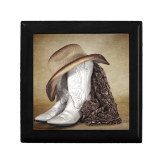 Cowgirl Boot Western Lace Hat Keepsake Box