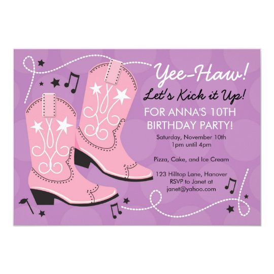 Cowgirl Boots Birthday Party Invitations