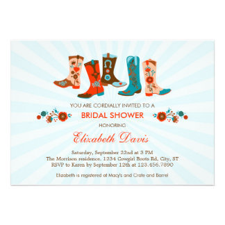 Cowgirl Boots Bridal Shower Invitation