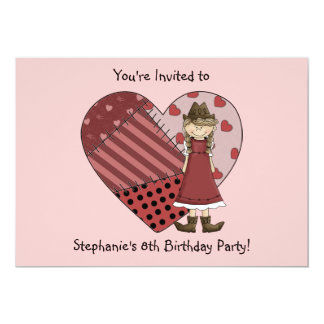 Cowgirl Boots Patchwork Heart  Girl Birthday Party Card