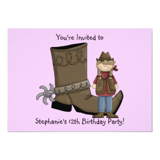 Cowgirl Boots & Spurs - Birthday Girl Celebration Card