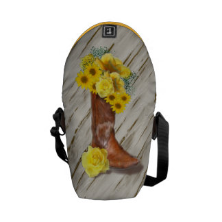 Cowgirl Bouquet on Old Porch Background Messenger Bags